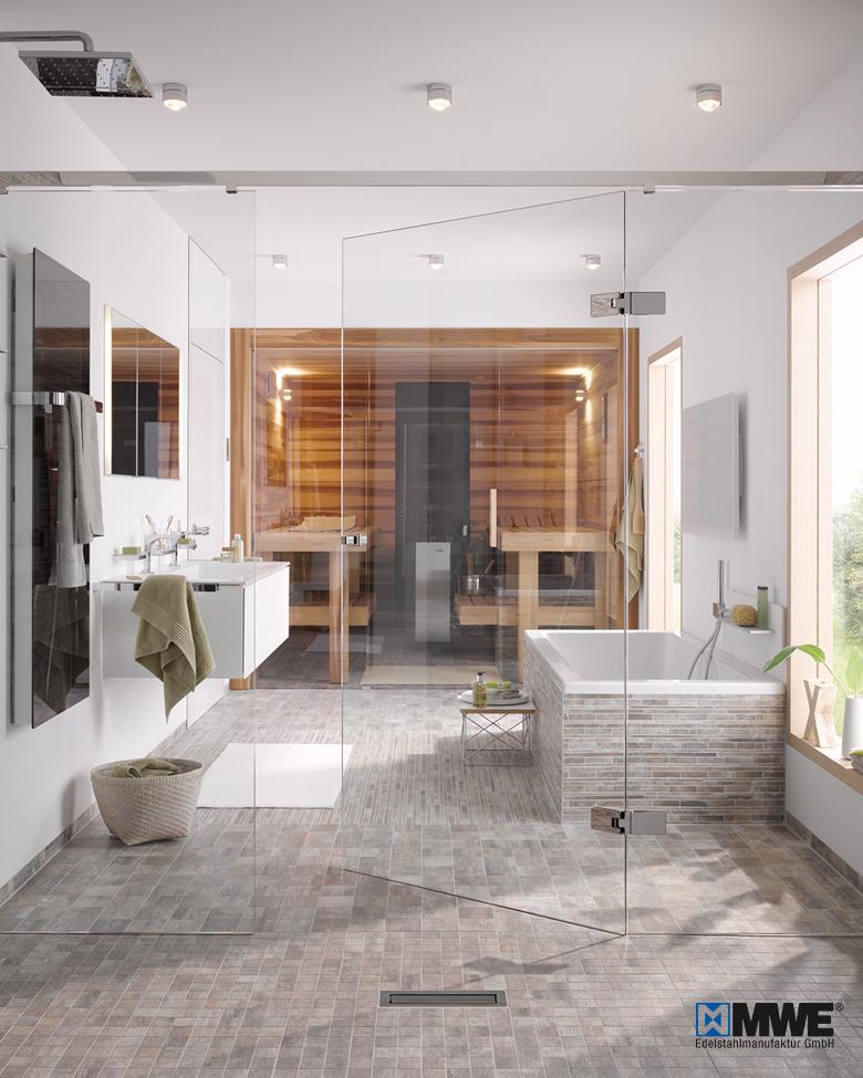 Bad: Dusche mit Glastüre
